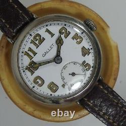 1855 Original Antique Gallet Trench Transition Watch Wwi, Enamel Dial, Cir. 1915