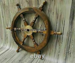18Nautical Wooden Ship Steering Wheel Pirate Decor Wood Brass Fishing Wall Boat