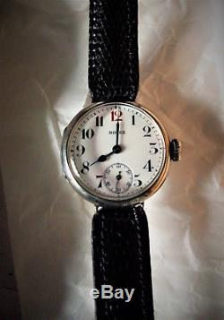 1910-1915 Very Rare ANTIQUE VINTAGE ROLEX SOLID SILVER TRENCH WATCH WW1 with box