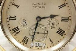 1910 Waltham Lever Escapement 8 day Chronometer Watch Clock Gimbal Case with Key