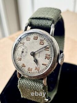 1917 WWI ELGIN Military Trench Watch 8-17 Dated Dial FAHYS OreSilver Case