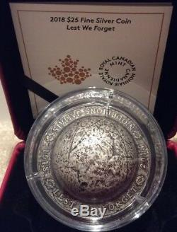 1918-2018 LEST WE FORGET $25 1.5OZ Silver Helmet Coin Canada 100th Armistice WW1
