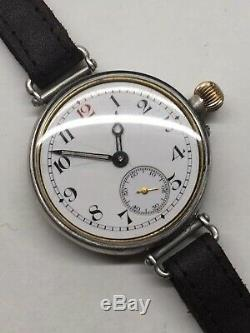 1918 Longines 13.34 Borgel Sterling Silver WW1 Officers Trench Watch 35mm Works