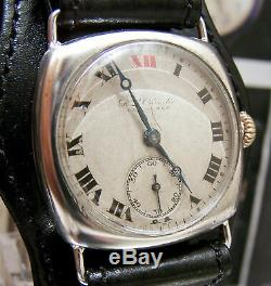 1918 Rolex Antique Vintage Solid Silver Ww1 Officers Trench Watch 3x Signed