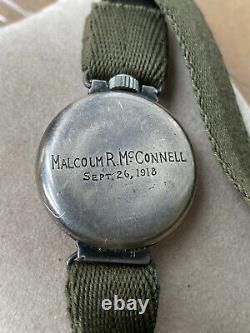 1918 WWI Waltham J. Depollier D-D KHAKI Military Trench Watch 3/0 15J RARE
