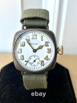 1918 WWI Waltham Military Trench Watch 15J 0s FAHYS Sterling with Inscription