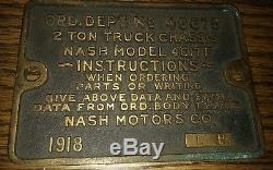 1918 Wwi Military Ordnance Dept 48675 Nash 4017f Truck Chasis Plate ID Tag