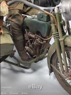 1/6 Us Ww1 77th DIV Harley-davidson Motorcycle + Sidecar Dragon DID Bbi 21st Ww2