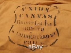 ANTIQUE Vintage Military Khacki Span Am WW1 ORIGINAL TENT Union Canvas Signed