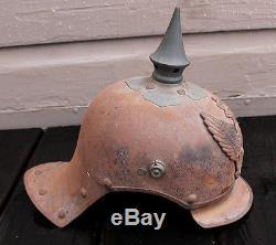 ANTIQUE WWI World War One 1916 German Steel Damaschke Spike Pickelhaube Helmet