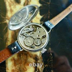 A Rare Large Vintage 1916/17 Ww1 Gents Military Rolex Trench Watch In Silver