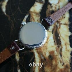 A Rare Vintage 1916 Ww1 Gents British Military Rolex Trench Wristwatch In Silver