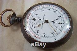 A WW1 GUN METAL CASED FRENCH MADE MEDICAL CHRONOMETER POCKET WATCH c. 1914-18