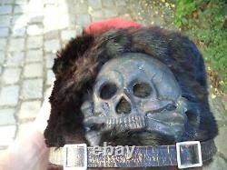 Alte husaren mütze echt fell pelz, wk1 ww1, (pickelhaube schirmmützte stahlhelm)