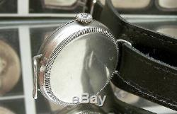 Antique 1917 Ww1 Solid Silver Military Trench Watch + Silver Flip Up Guard Runs