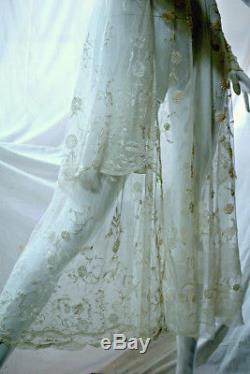 Antique Edwardian WW1 1900s Brussels Princess lace wedding dress, 28 waist