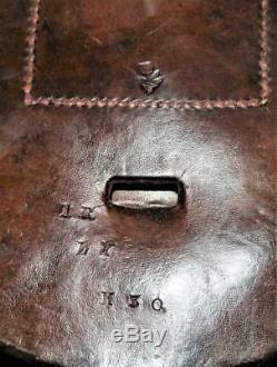 Antique Leather Cavalry Military Horse Shoe & Nails Travelling Pouch WW1