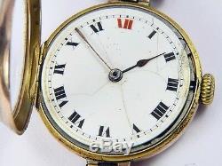 Antique Rolex 9k Gold Genuine 1916 Wwi Officer's Wristwatch #722709