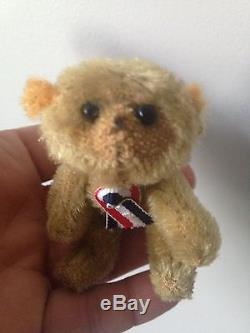Antique Soldier Miniature Bear Mascot Mohair Bear WWI Mohair Farnell Steevans
