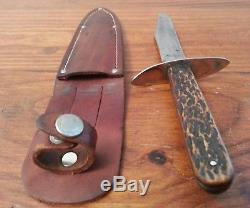 Antique USA Bowie hunting knife Stag Bone fighting 1909' old ww1 era withcase Vint