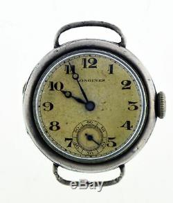 Antique WW1 Longines Cal 10.86N 25mm 900 Coin Silver Military Trench Watch