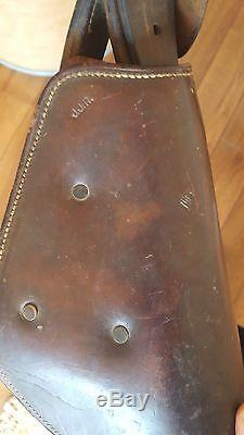 Antique WW1 McClellan Cavalry Saddle with Hooded Stirrups and Accessories