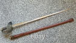 Antique WWI British Pattern 1897 Infantry Officer Sword with Leather Scabbard