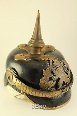 Antique WWI WWII Prussian German Military Pickelhaube Brass Spike Leather Helmet