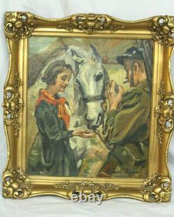 Antique Wojciech Kossak Oil. Polish Soldier, Girl & Horse. WWI/Polish-Soviet War