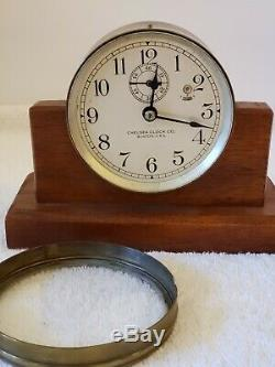 Antique Working 1920's CHELSEA Brass 8 Day Wind-Up Desk Clock with Wood Base