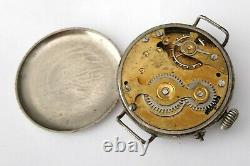 BIG 39mm WW1 TRENCH WATCH BLACK DIAL BRITISH ARMY MILITARY MEN'S ANTIQUE VINTAGE