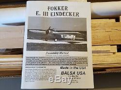 Balsa USA Fokker E. III Eindecker WWI Plane Airplane Model RC Kit 80 Wingspan