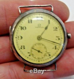 Birmingham 1926 hallmarked silver gents OMEGA WW1 style trench wristwatch