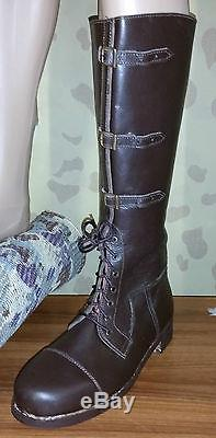 British Officers Long Ww1 Brown Leather Boots Star Wars Rebels Cosplay Pair