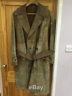 British WW1 Royal Flying Corps Aviators Brown Leather Flying Coat