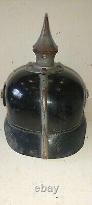 Casque à pointe, spilkelmet Superbe casque modèle 15, Duché de Saxe. WW. 1