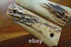 Colt 1911 Stag Grips Vintage Aged Government Sized Rare Genuine 1918 WWI
