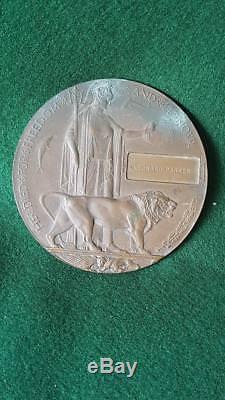 DP1 Australian Bronze WWI Memorial Plaque (Death Penny) Leonard Parker