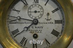 EARLY WWI CHELSEA BOSTON USA BRASS SHIPS NAVY DECK CLOCK RARE Estate Fresh