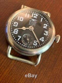 ELGIN WW1 Military Trench-watch, Elgin USA Black Star Enamel Dial, 32mm case