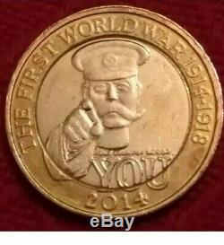 ERROR/mule OUTBREAK WW1 Lord Kitchener £2 two pound coin Very Rare