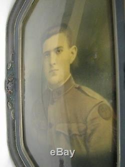 Early WWI Era Military Soldier Photo Gesso on Wood Bubble Dome Glass Frame Army