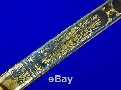 German Germany WW1 Damascus Presentation Engraved Grosser Lion Head Sword