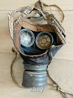 German WW1 M1917 Leather Gas Mask 2J. R & Lots of markings Fully Pliable