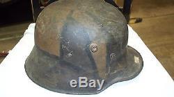 German WW1 camo metal helmet/leather liner