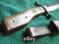 German Ww1 Demag Crank Handle Bayonet Fighting Knife With Scabbard