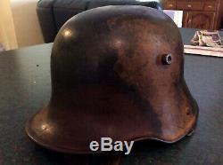 German Ww1 M17 Camouflaged Helmet Original
