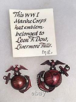 IDed WWI USMC Marine Officer Fire Bronze EGA Pin Badge D. Snyder Collection
