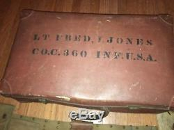 Id'd WW1 350th Inf Regt 88th Division Officer Suitcase with Contents, Holster Rig+