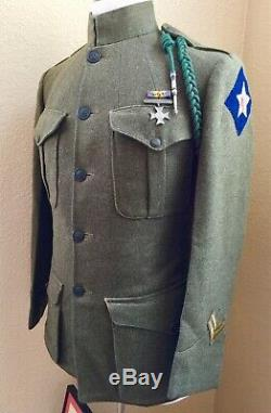 Ided WWI 82nd Company USMC Service Green Blouse With War Service Certificate